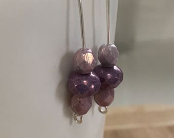 Silver Pierced Earrings with Pastel Czech Glass Beads. FREE US SHIPPING