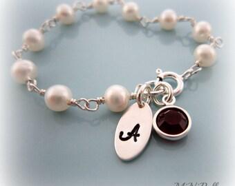 Baby Pearl Bracelet. Birthstone Baby Bracelet. Initial Bracelet. Baby Baptism Bracelet. Personalized Bracelet