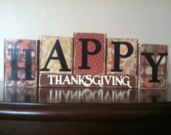 Wood Happy Thanksgiving blocks, fall decor, thanksgiving decoration,  thanksgiving sign