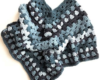 Crochet poncho girl in 100% recycled cotton denim | Size 5/7