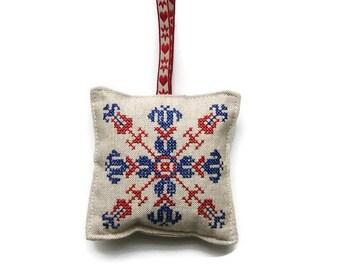 Lavender bag, hanging decoration, cross stitch embroidered red and navy blue linen organic lavender bag, lavender drawer sachet.