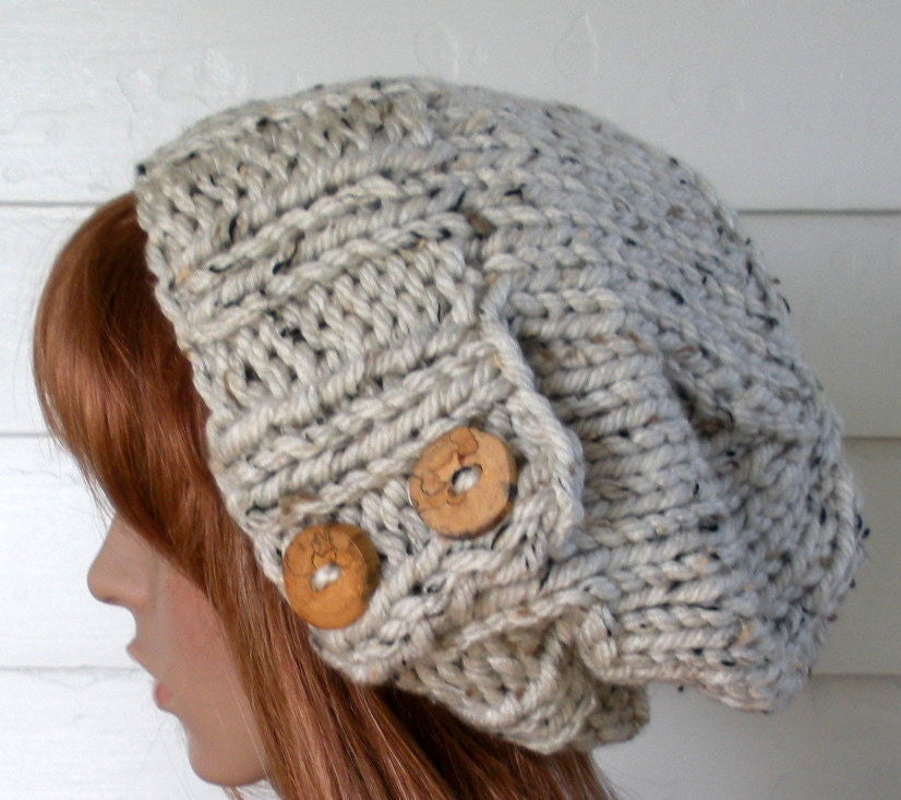 Knit Hat PATTERN, Easy Slouchy Beanie Beret, Instant Download ...