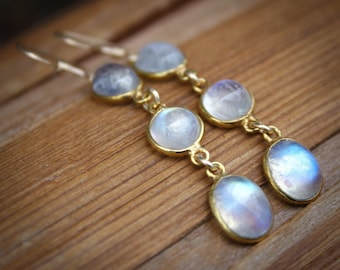 Gold Rainbow Moonstone Dangle Earrings - Gemstone Earrings - June Birthstone