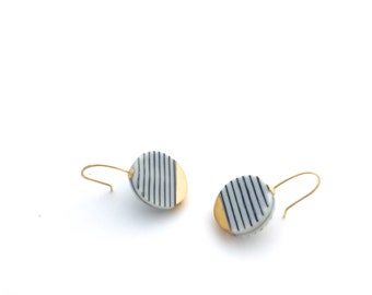 Black and white Porcelain earrings, ceramic jewelry, stripes, modern ceramics, gold dipped earrings, modern minimalist earrings