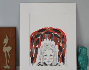 Cocoon - Original Mixed Media Portrait Illustration (A4)