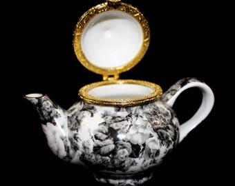 Vintage Formalities Black Flower Miniature Tea Pot Hinged Trinket Box Chintz by Baum Bros.