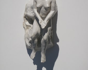 Ceramic Figure Sculpture, Dreamer Offering Figurine, Nude Woman Levitation Wall Art Mature Erotic Porcelain Statue