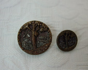 Antique Brass Picture Buttons 2 Sizes Mother Daughter Tree and Buildings