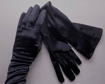 Black formal or evening gloves, elbow length satin  vintage 1980s size 6 1/2