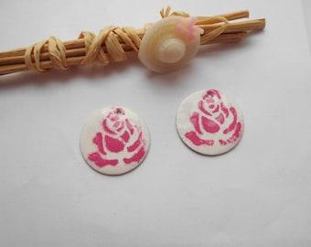 Pink x 4 ivory flower sequins