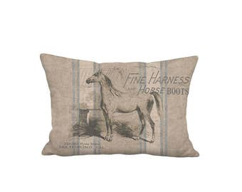 Lumbar Pillow Cover - Pillow - Americana Rustic Grain Sack Style Horse - 12x18 12x20 12x22 14x20 14x22 14x26 16x24 16x26 Inch Cushion Cover