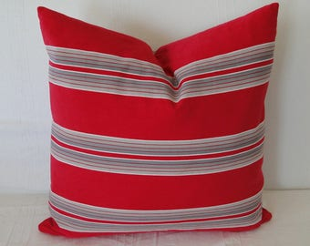 "20"" VINTAGE FRENCH TICKING Pillow cover, Red, Handmade"