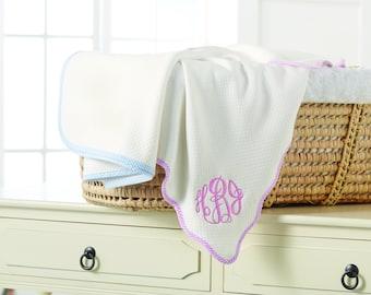 Monogrammed Seersucker Baby Blanket