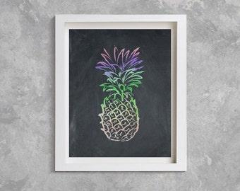 Rainbow Pineapple Print, Pineapple Chalkboard print, Pineapple art,  Modern Wall Art, chalkboard art, pineapple artwork, rainbow pineapple