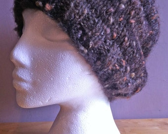 Brown Slouchy Beanie Hat / Hand Knit Chunky  /Woollen Hat /Ski Hat -One Size-Adult