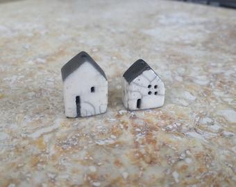 house beads, raku bead, kiln fired,  white