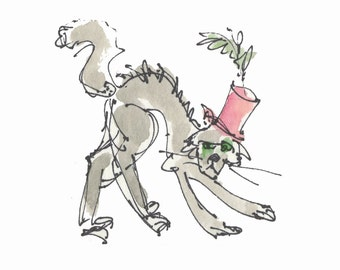 "COOL HOT CAT..Clipart / Digital Download / 300 dpi/ hi resolution of Original Watercolor . 8""x10"" Great for any application."