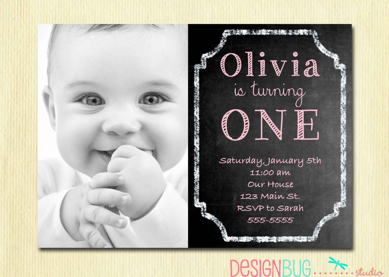 1st Birthday Girl Invitation Custom Chalkboard Photo