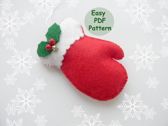 PDF pattern mitten christmas ornaments pattern Felt mitten pattern ...