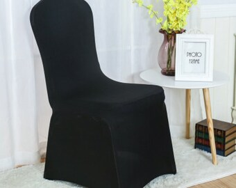 Black Lycra Chair Covers Spandex Chair Cover Wedding Banquet Ceremony Feast 21st Birthday Anniversary Engagement Party Chair Decoration