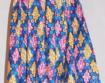 African print, ankara skirt, maxi, elastic waist, 100 percent cotton, headband