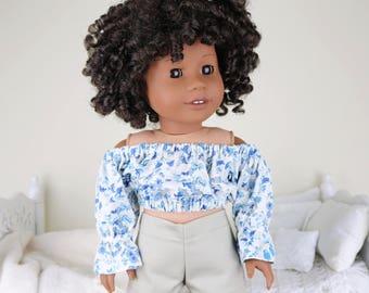 18 inch doll floral peasant blouse | blur & white crop top