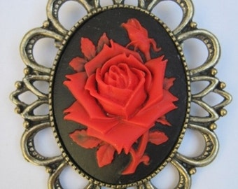 Retro vintage cameo brooch red rose rockabilly pin up gothic victorian penny dreadful