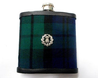 Hip flask in Black Watch Tartan with pewter thistle Scottish gift for men made in scotland fathers day retirement best man groomsman present