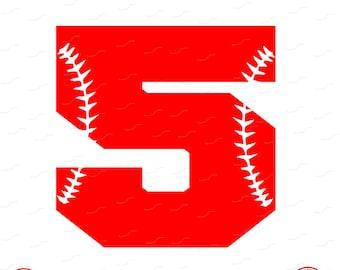 Digital Cut File, Monogram Baseball Numbers, Number 5, 5, Softball, Vinyl Cutting File, Baseball, SVG, DXF, EPS, Silhouette, Cricut