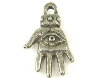 Silver Hamsa Pendant, Pewter Hand of Fatima Pendant, Hand Charm Eye Charm Green Girl Studio Jewelry Supply |S23-3|1