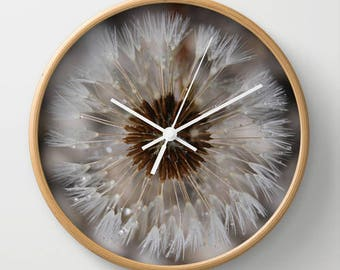 Dandelion photo clock, nature wall clock, rustic clock decor, wood cabin decor, nature lover clock, natural theme wall clock