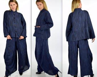ComfyPlus 2 PC Pant  Set,Hand Spun Pant Set,Cotton Flax Pant Set, Lagenlook pant Set,Plus size Pant Set, Plus size clothing