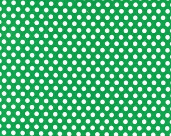 Polka dot fabric -Michael Miller Kiss dot-Kiss dot fabric-green polka dot fabric-Michael Miller fabric-green kiss dot fabric-quilting cotton