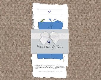 French Linen Wedding Invitation Bundle RSVP Map Torn Edges Linen Paper