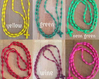 Knotted Rosary Necklace for kids and adults - choose your colors