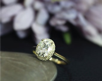 Amazing Forever One(G-H-I) 6x8mm Charles & Colvard Oval Moissanite Engagement Ring Solid 14K Yellow Gold Ring Wedding Ring Anniversary Ring