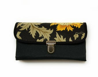 Travel Passport Wallet Clutch Women Floral Black Wristlet Samsung Galaxy Note 8 7 Yellow Roses Boho Purse Gift for Girlfriend- ready to ship