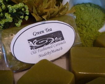 Green Tea Caramels ~ Box of 32 extra creamy, Soft, Gourmet, homemade caramels