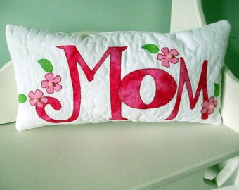 Mother's Day Gift, Decorative Pillow, Quilted Pillow, Appliqued Pillow,  Throw Pillow, Handmade