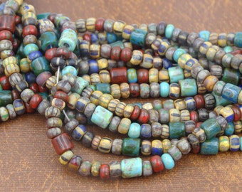 Aged 6/0 Striped Picasso with Red, Turquoise Seed Beads and Vintage 5mm Tile Beads  6 Strand Hank