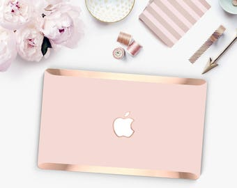Rose Gold Pink - Macbook Pro 13 Case Macbook Air Case Laptop Case Macbook Case . Rose Gold Pink and Rose Gold Chrome Edge