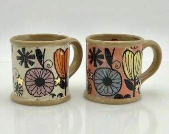ceramic coffee mug, handmade pottery, unique floral mug, handmade ceramics, big coffee mugs, teacup, housewarming gift, valentines day