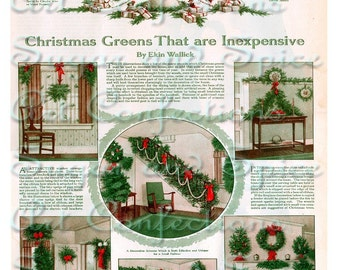 Vintage Christmas Decorating Scenes Digital Collage Sheet Toy Theaters, Altered Books, Art Dolls, Paper Dolls