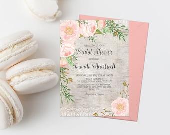 Pink Floral Bridal Shower Invitation Printable Rustic Bridal Shower Invite Shabby Bridal Shower Barn Wedding Shower Invite Blush Lace 256