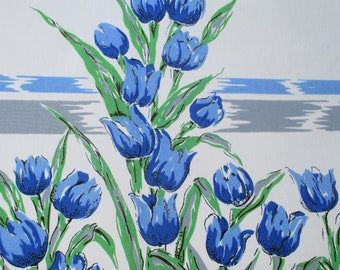 Vintage Tablecloth-Blue Tulips