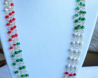 Wire Wrapped Multi color Necklace / Multi color Bead Necklace / 3 Necklaces