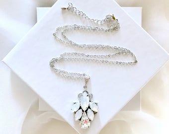 Opal bridal necklace, Opal wedding pendant necklace, something blue bridesmaid necklace, opal necklace, birthday opal jewelry gift TERESA