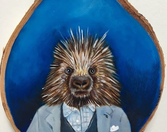 The Proper Gent Porcupine - Small Oil Painting