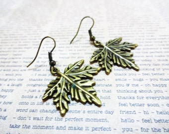 BRONZE MAPLE LEAF earrings - leaf dangle earrings
