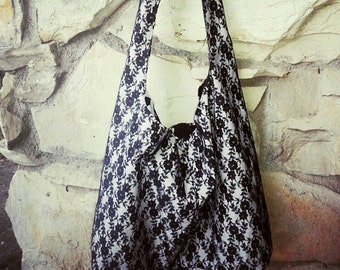 Hobo bag, The Black Lace Hobo. This across the body bag comes in your choice of color with a black lace overlay. Slouch bag, Bohemian bag